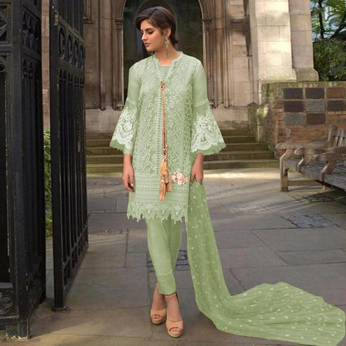Breathtaking Pista Green Colored Partywear Embroidered Netted Pant Style Suit