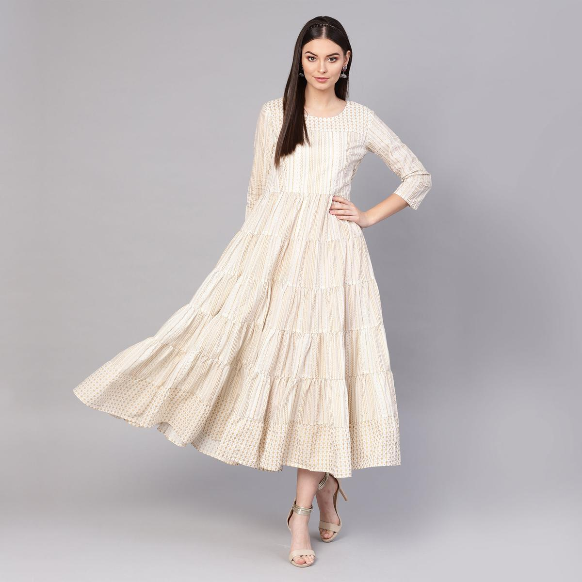 Adorable Off White Colored Partywear Printed Cotton Long Kurti