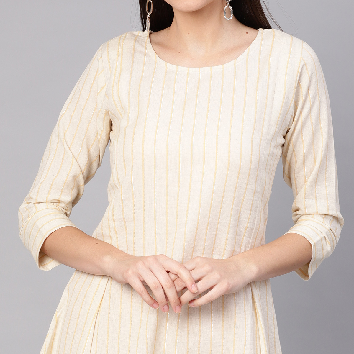 Glorious Off White Colored Casual Printed Cotton Tunic