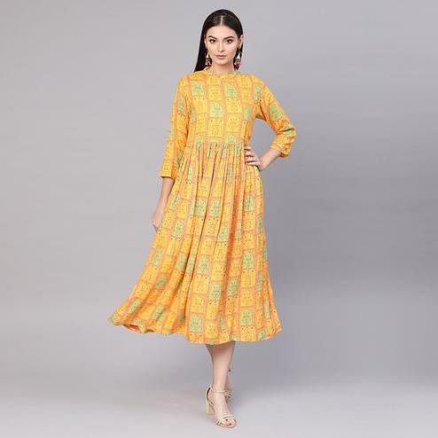 Attractive Yellow Colored Casual Printed Viscose-Rayon Tunic