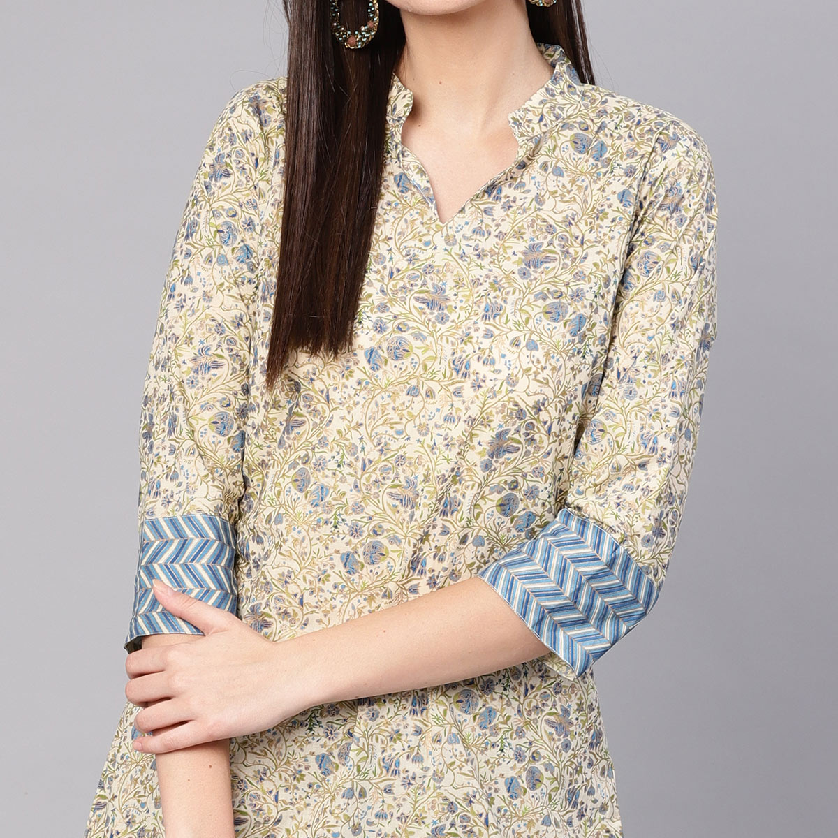 Blooming Beige Colored Casual Printed Cotton Kurti