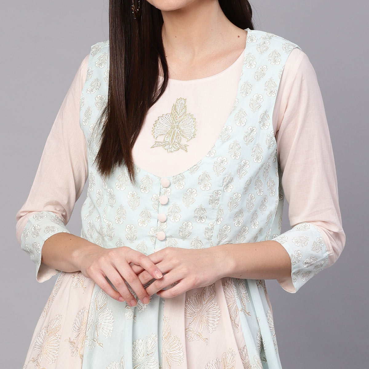 Charming Light Blue-Peach Colored Partywear Printed Cotton Kurti