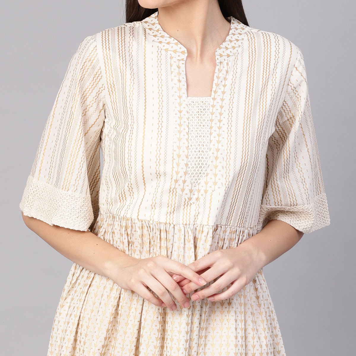 Captivating Off White Colored Casual Printed Cotton Tunic
