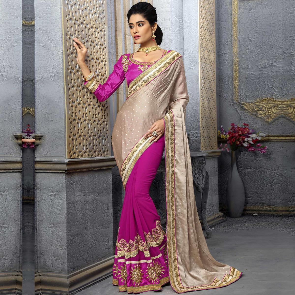 Gold - Pink Embroidered Saree