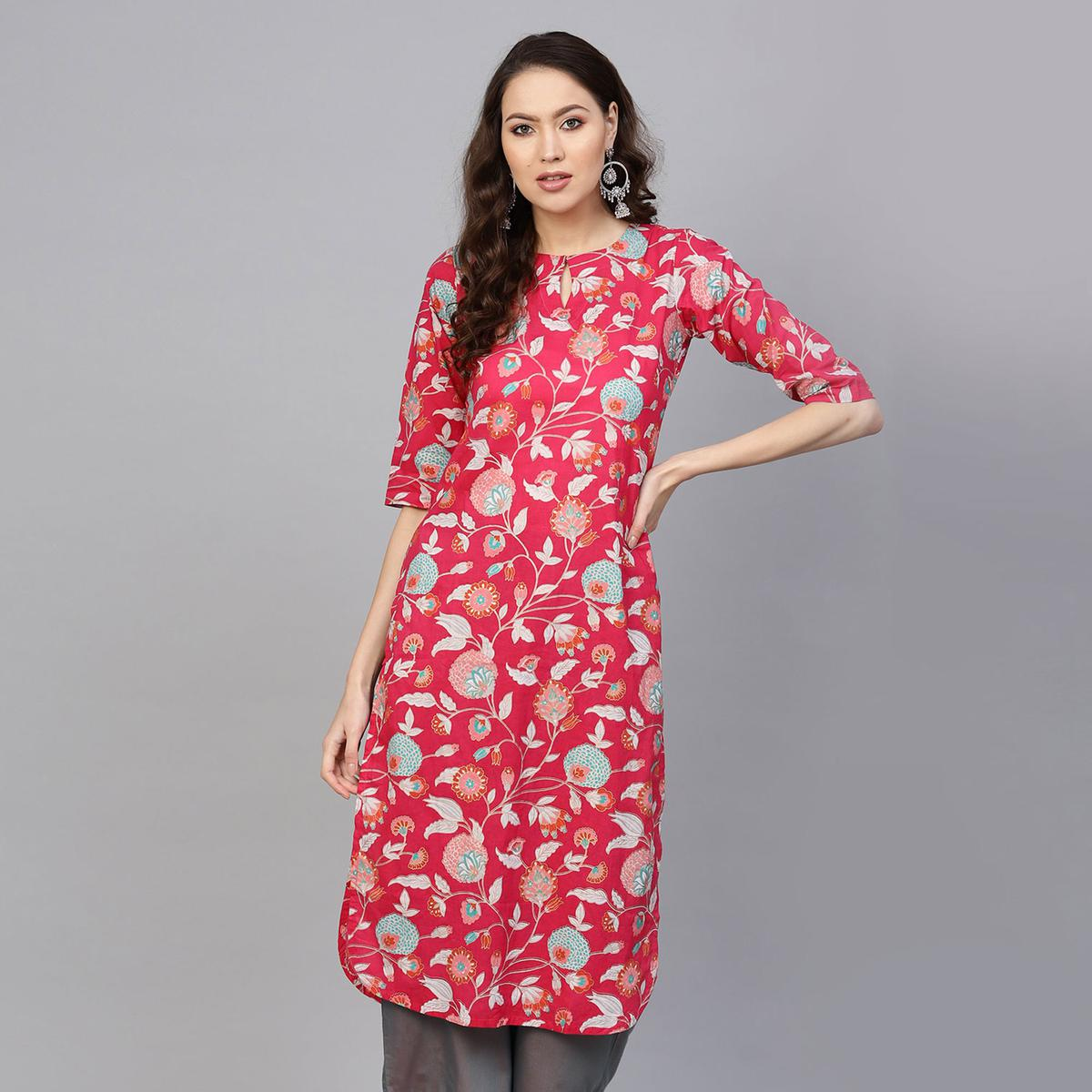 Amazing Pink Colored Casual Printed Cotton Kurti