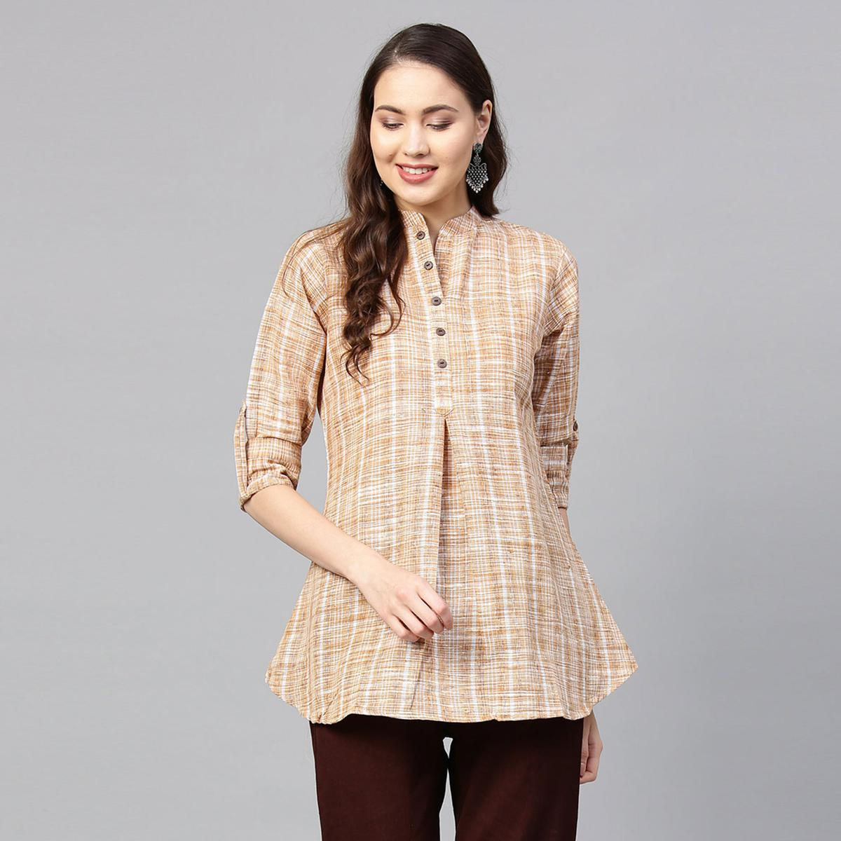 Blissful Beige Colored Casual Printed Cotton Kurti