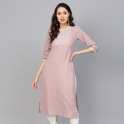 Lovely Mauve Colored Casual Embroidered Cotton Kurti