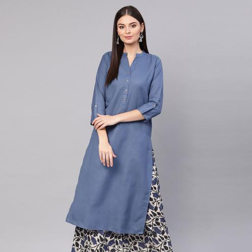 Majesty Blue Colored Casual Wear Cotton Kurti