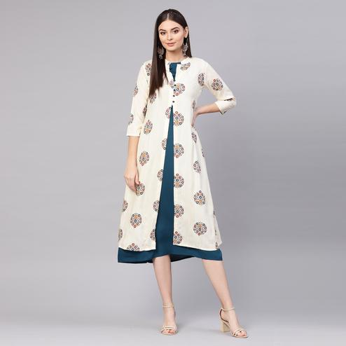 Pleasance Off White Colored Partywear Printed Viscose-Rayon Tunic
