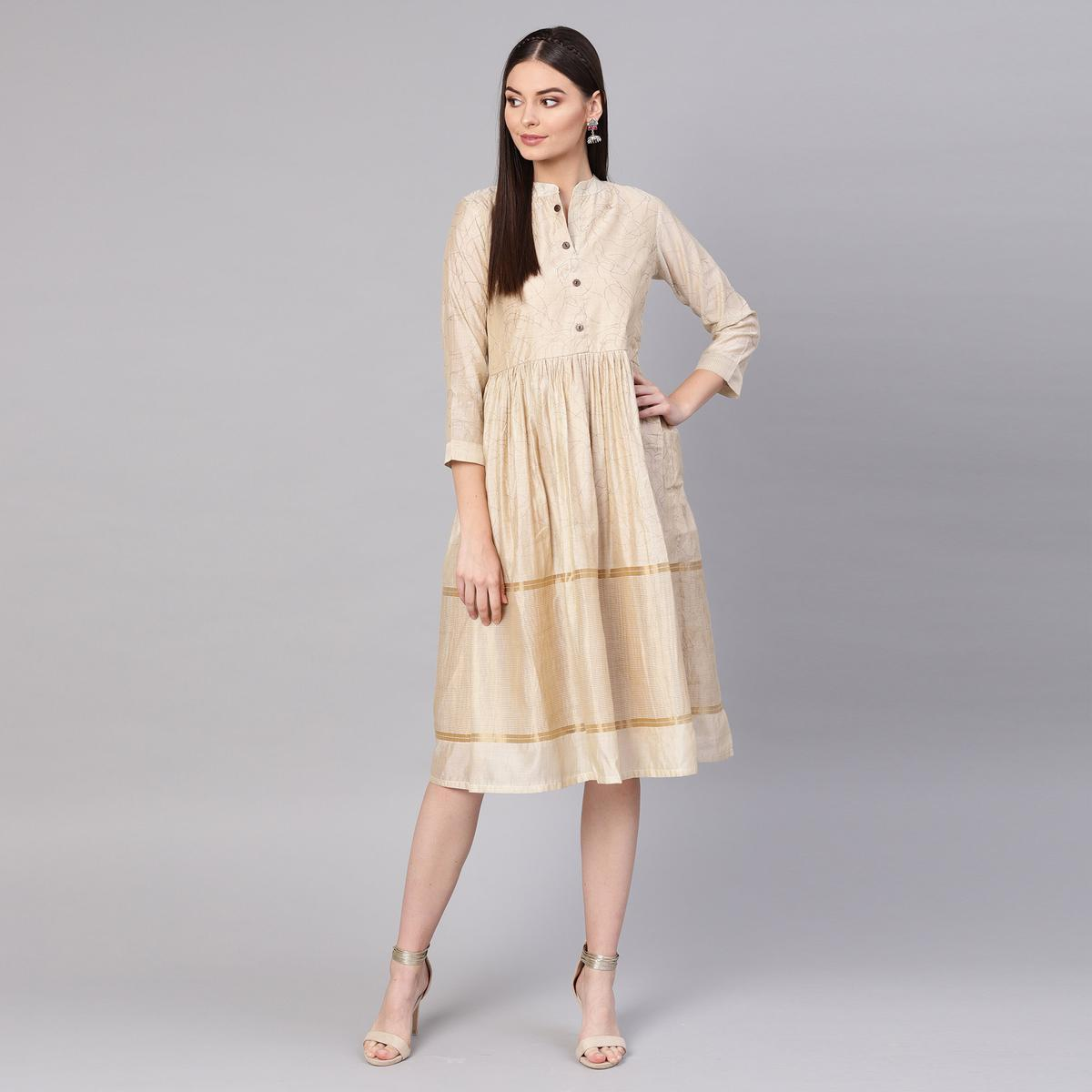 Breathtaking Beige Colored Partywear Printed Cotton Tunic