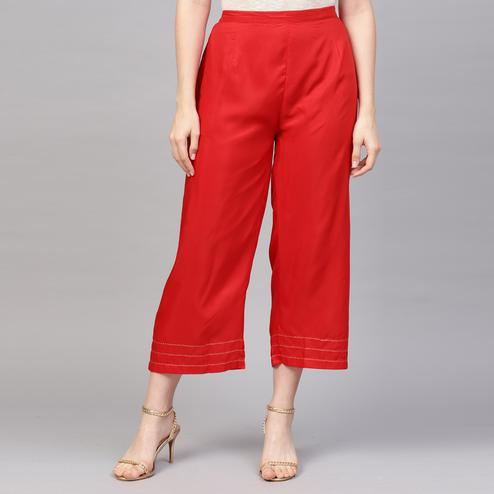 Surpassing Red Colored Casual Wear Modal Palazzo