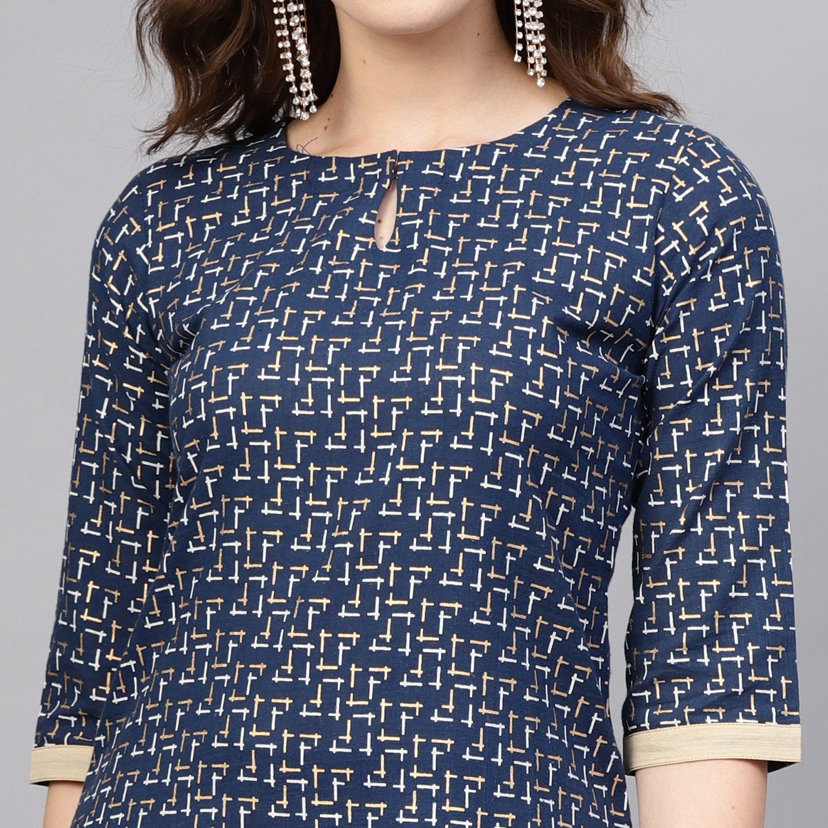 Desirable Navy Blue Colored Casual Printed Pure Cotton Kurti-Pant Set