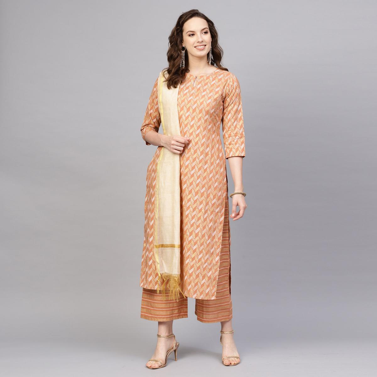 Exotic Peach Colored Casual Printed Stitched Pure Cotton Palazzo Suit