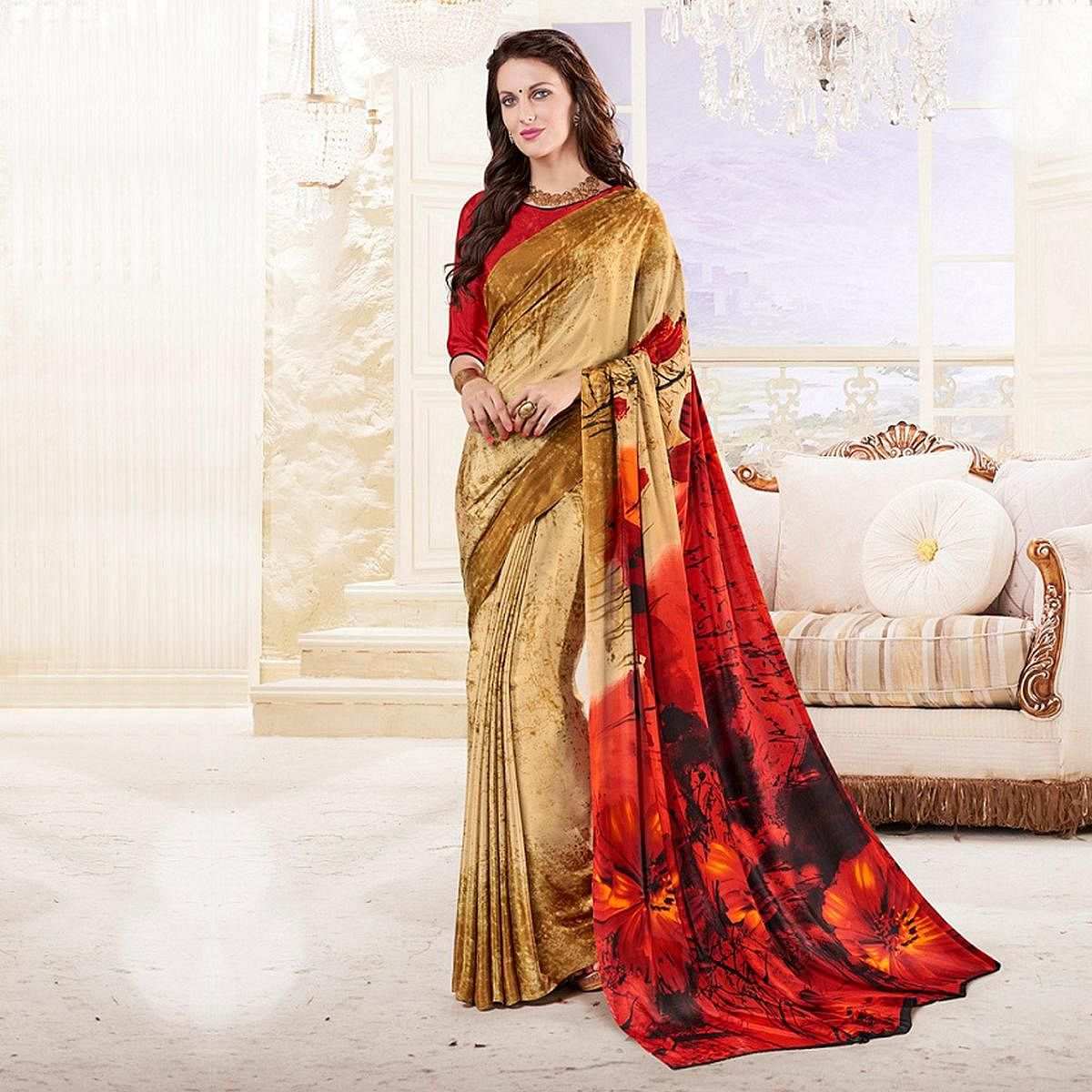 Beige - Red Printed Crepe Saree