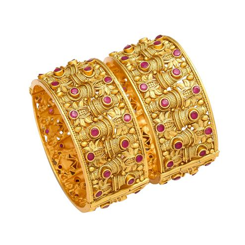 Mesmeric Hand Made Gold Look Red Stones Openable Kada Bangle Pair