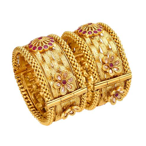 Unique Hand Made Gold Look Red Stones Openable Kada Bangle Pair