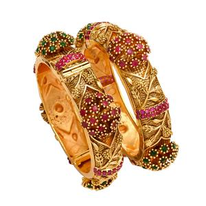 Demanding Hand Made Gold Look Red Stones Openable Kada Bangle Pair