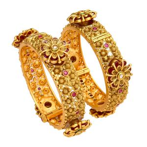 Refreshing Hand Made Gold Look Red Stones Openable Kada Bangle Pair