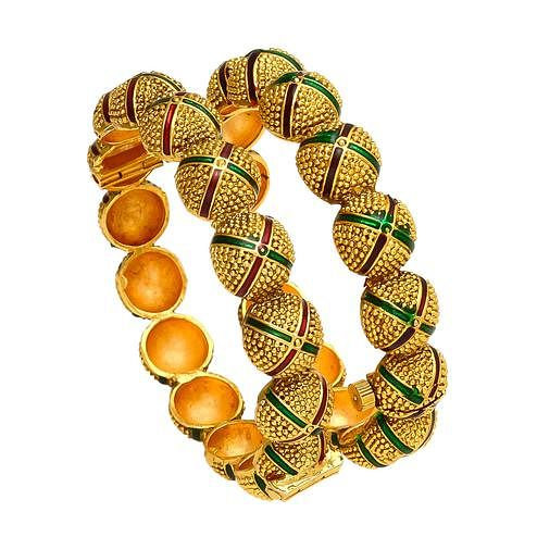 Magnetic Hand Made Gold Look Red & Green Meena Openable Bangle Pair