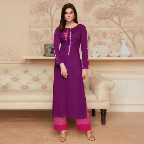 Ethnic Purple Colored Casual Wear Embroidered Rayon Kurti-Palazzo Set
