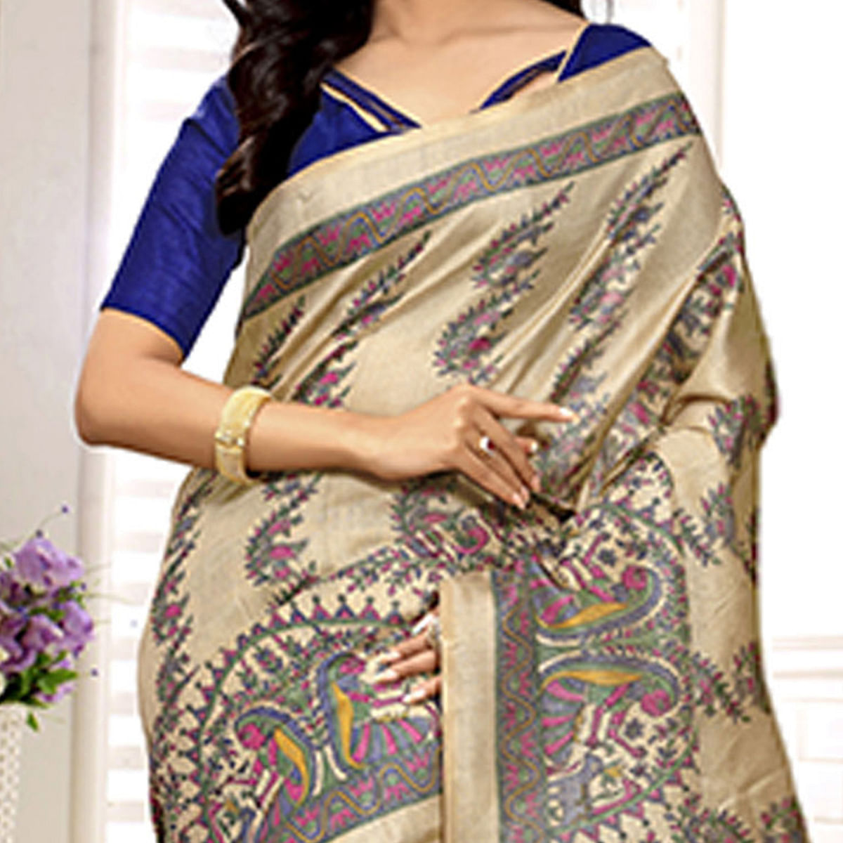 Beige - Blue Casual Bhagalpuri Saree