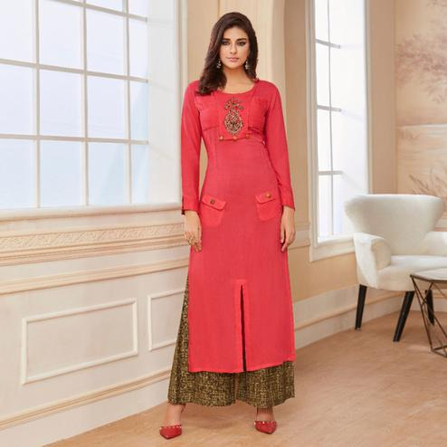 Staring Pink Colored Casual Wear Embroidered Rayon Kurti-Palazzo Set
