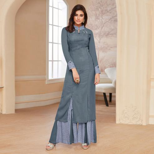 Dazzling Grey Colored Casual Wear Embroidered Rayon Kurti-Palazzo Set