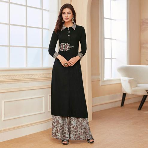 Surpassing Black Colored Casual Wear Embroidered Rayon Kurti-Palazzo Set