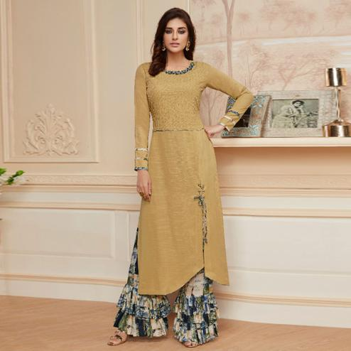 Mesmeric Beige Colored Casual Wear Embroidered Rayon Kurti-Palazzo Set
