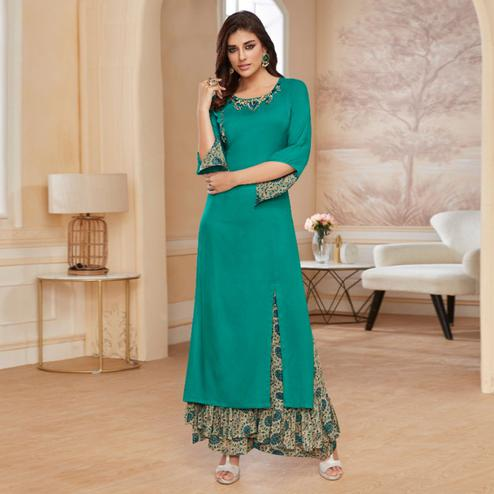 Unique Turquoise Green Colored Casual Wear Embroidered Rayon Kurti-Palazzo Set