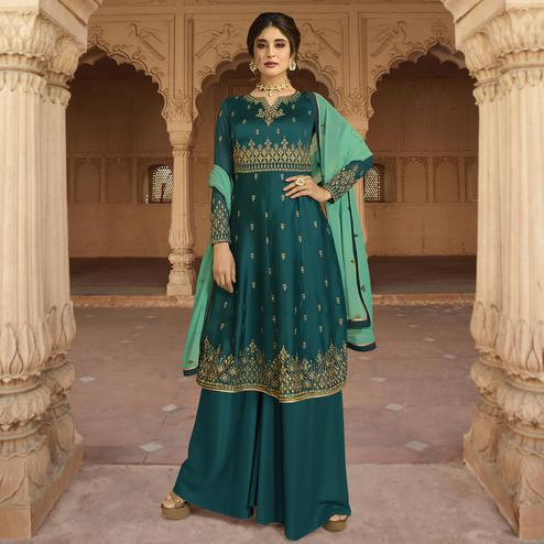 Beautiful Rama Blue Colored Party Wear Embroidered Georgette Palazzo Suit