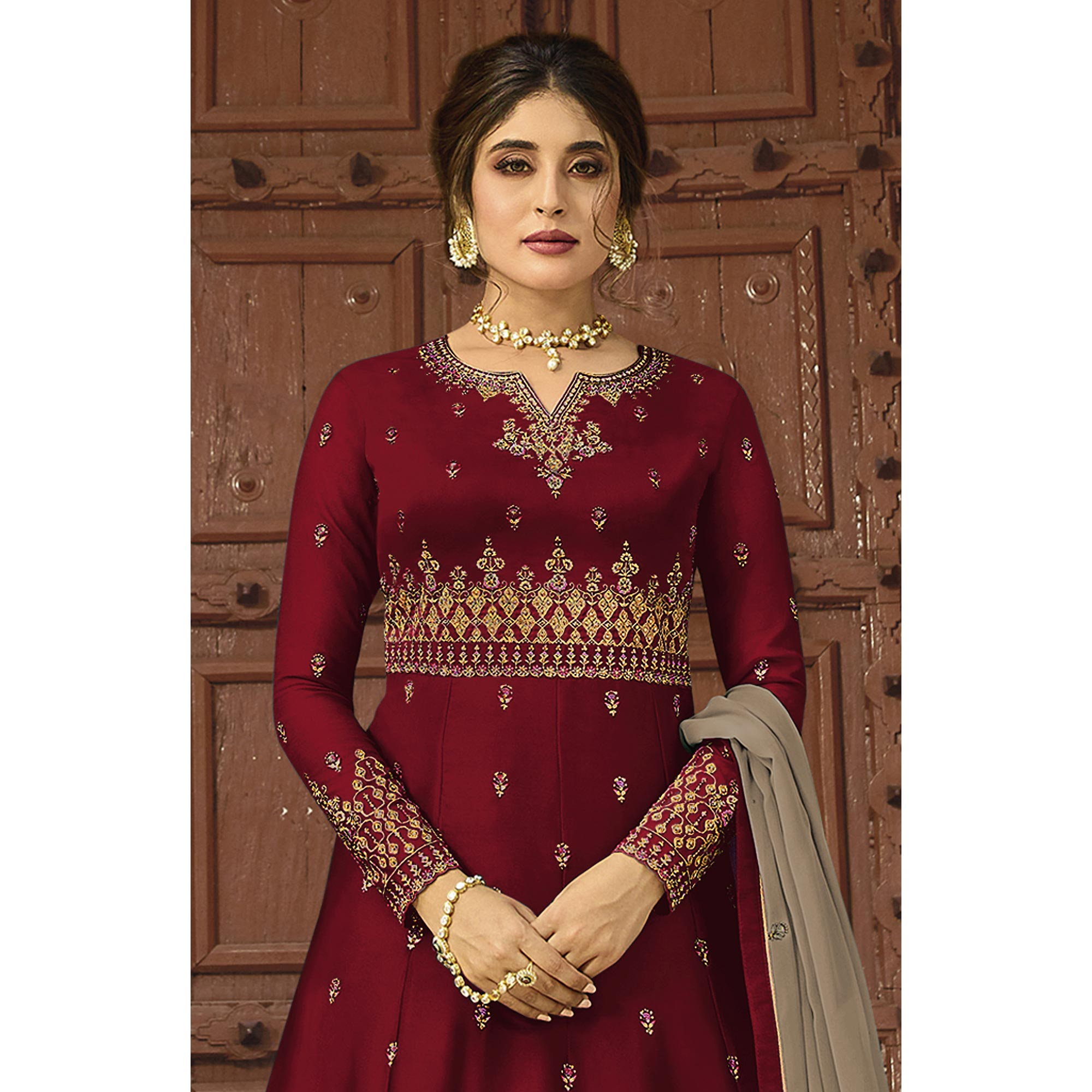 Graceful Maroon Colored Party Wear Embroidered Georgette Palazzo Suit