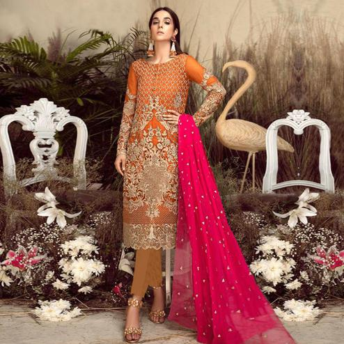 Imposing Orange Colored Party Wear Embroidered Georgette Pant Style Suit