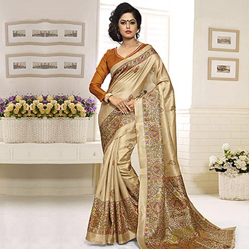 Beige - Dark Yellow Bhagalpuri Silk Saree
