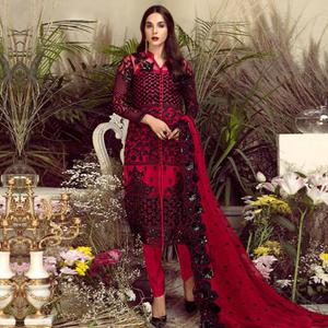Majesty Red Colored Party Wear Embroidered Georgette Pant Style Suit
