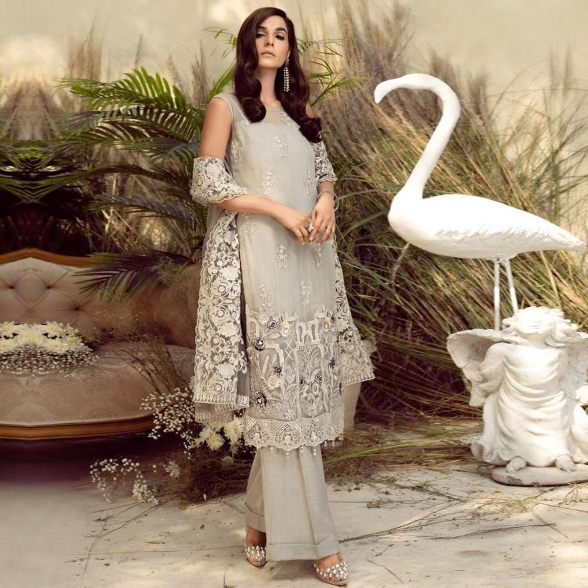 Impressive Light Grey Colored Party Wear Embroidered Georgette Palazzo Suit
