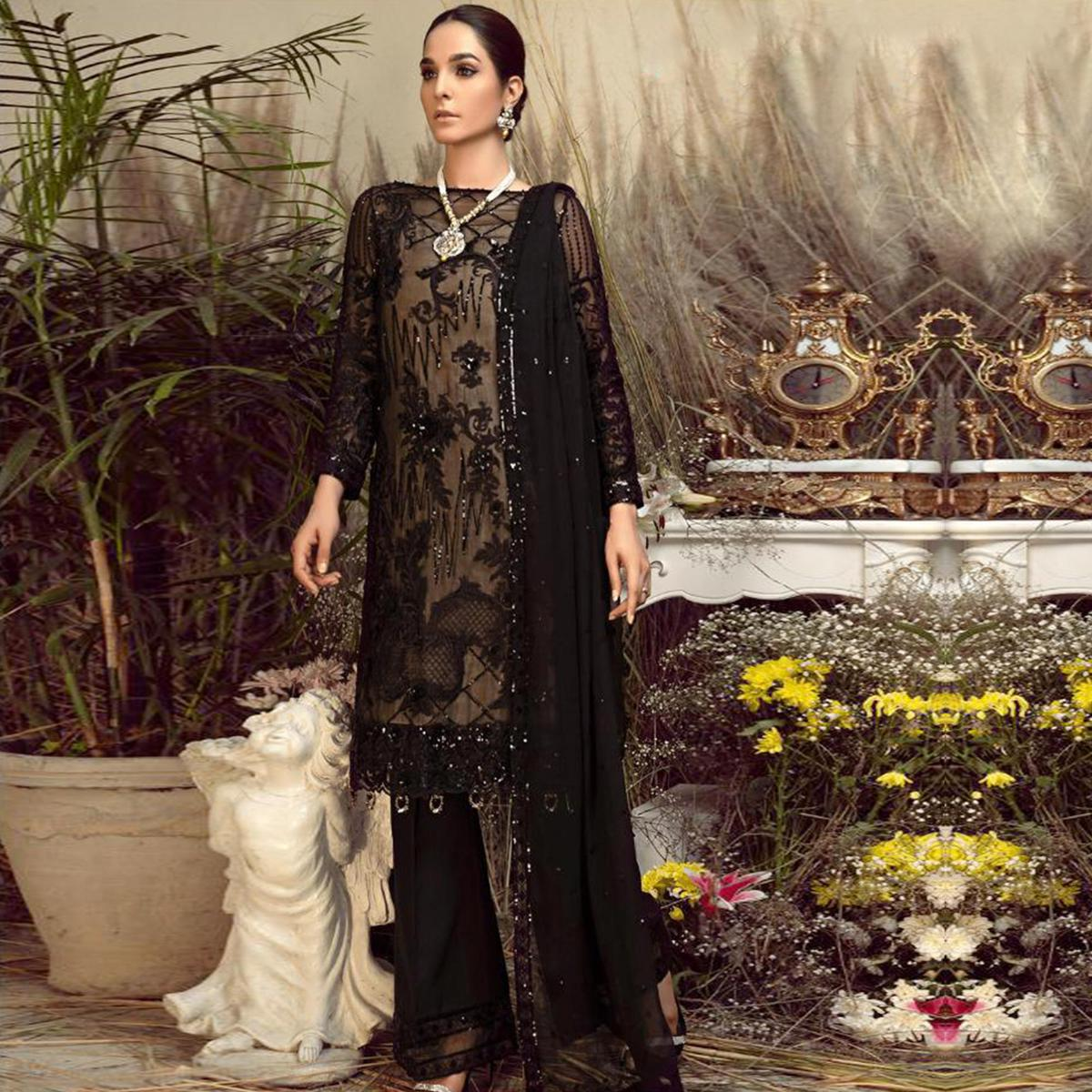 Mesmerising Black Colored Party Wear Embroidered Georgette Palazzo Suit