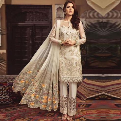 Exclusive Cream Colored Partywear Embroidered Georgette Pant Style Suit