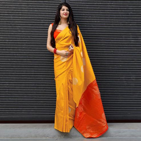 Entrancing Yellow Colored Festive Wear Woven Silk Saree