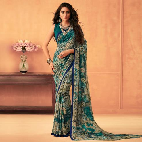 Sophisticated Multi Color Colored Casual Wear Printed Georgette Saree