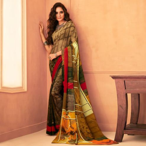 Trendy Green Colored Casual Wear Printed Georgette Saree