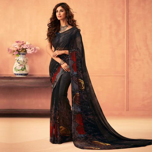 Elegant Black Colored Casual Wear Printed Georgette Saree