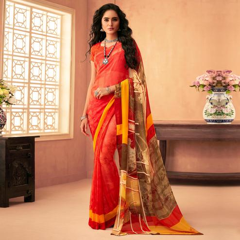 Radiant Red Colored Casual Wear Printed Georgette Saree