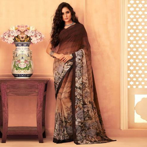 Glowing Coffee Colored Casual Wear Printed Georgette Saree