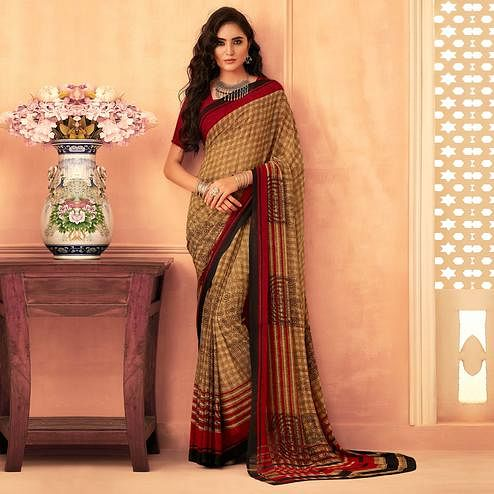Gleaming Brown Colored Casual Wear Printed Georgette Saree