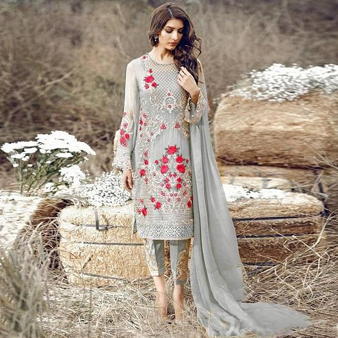 Desirable Grey Colored Party Wear Embroidered Pant Style Suit