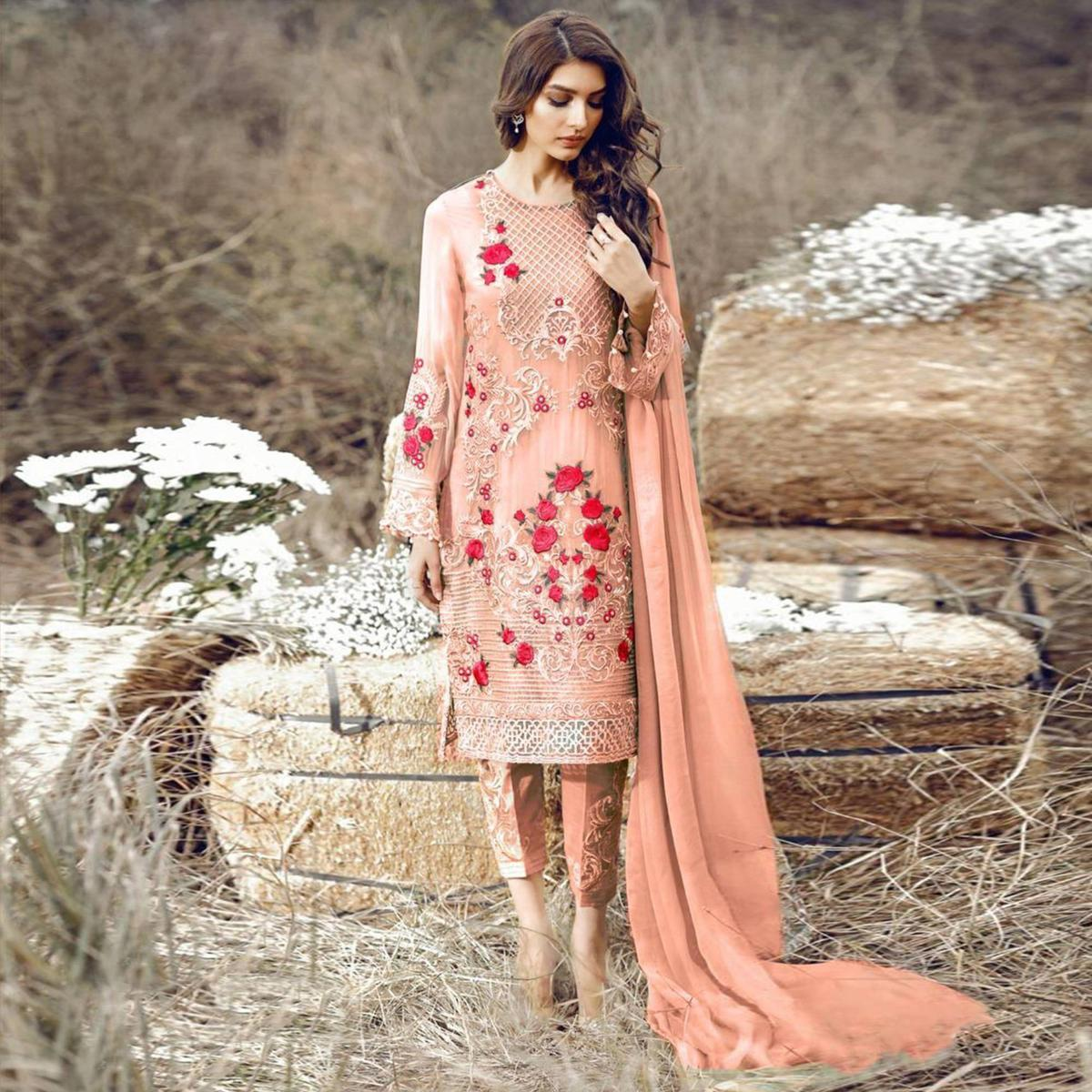 Exotic Peach Colored Party Wear Embroidered Pant Style Suit