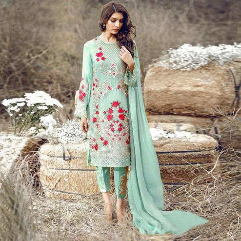 Trendy Aqua Green Colored Party Wear Embroidered Pant Style Suit