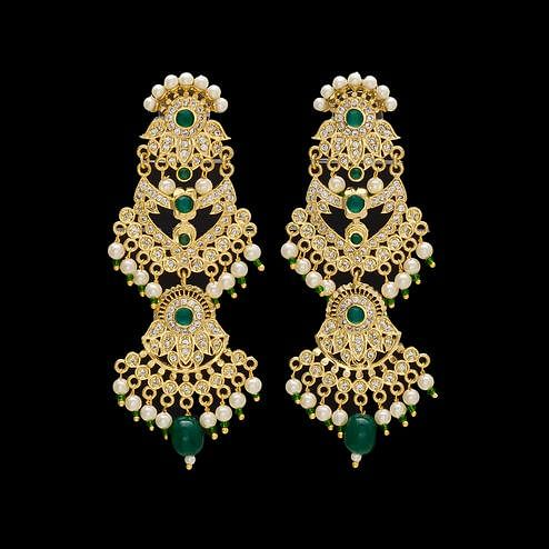 Stunning Green and White Stones Earrings