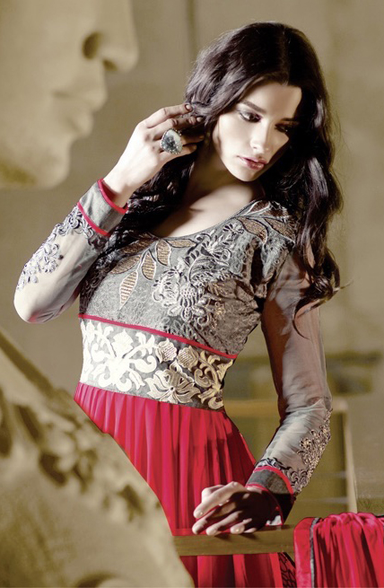 Exciting Pink & Grey Embroidered Anarkali Suit